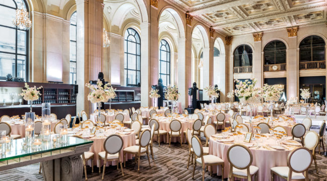 Intimate wedding venue at One King West in Toronto