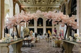 Pink floral decor at Toronto event venue