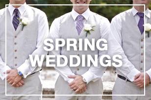 Groomsmen posing for a spring wedding