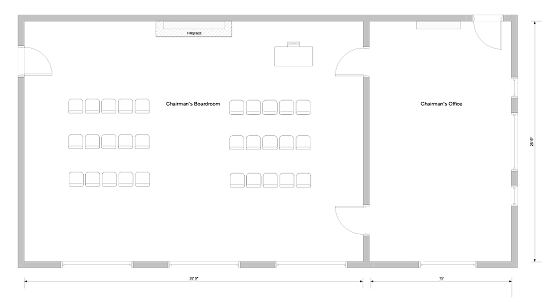 Blueprint for chairman's boardroom event venue