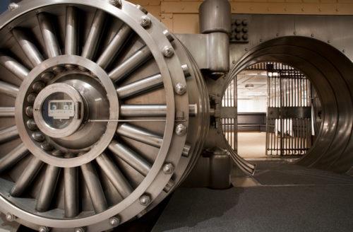 Vault door entrance of unique wedding venues Toronto