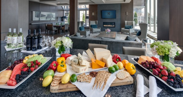 Fruit and cheese trays in hotel conference rooms