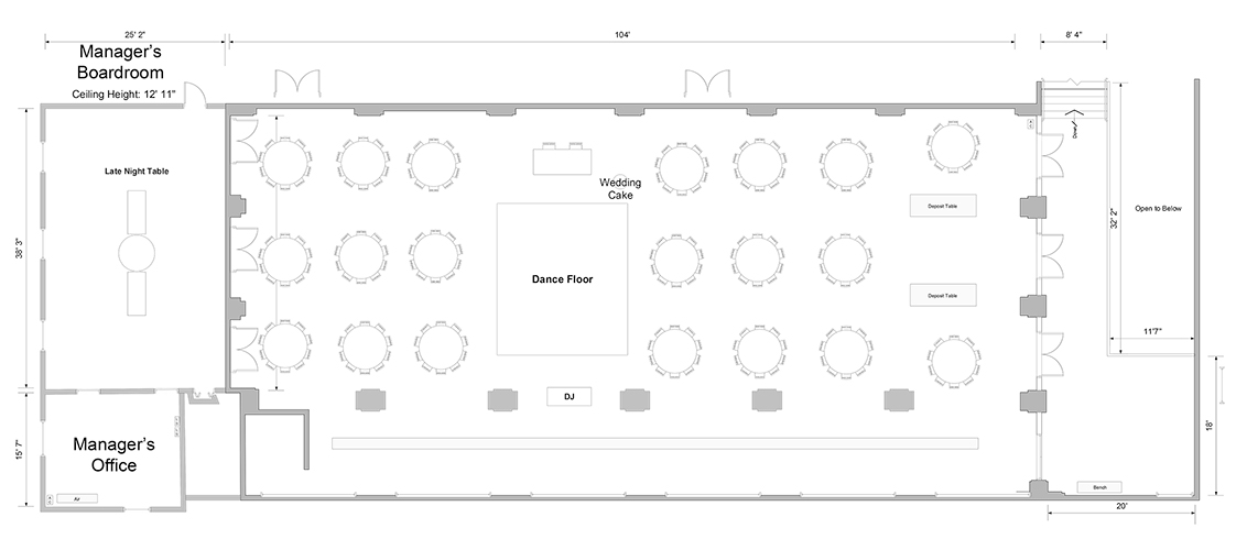Floor plan of grand banking hall event venue