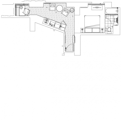 Layout of Toronto hotel suite at One King West