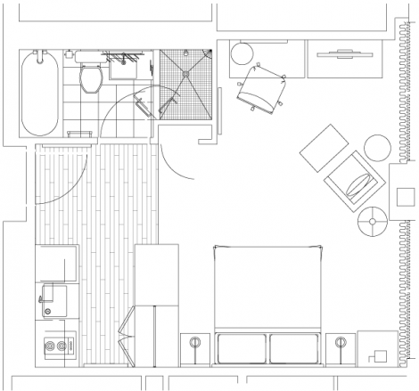 Layout for Toronto hotel room suite
