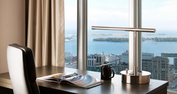 Desk overlooking hotels in Toronto