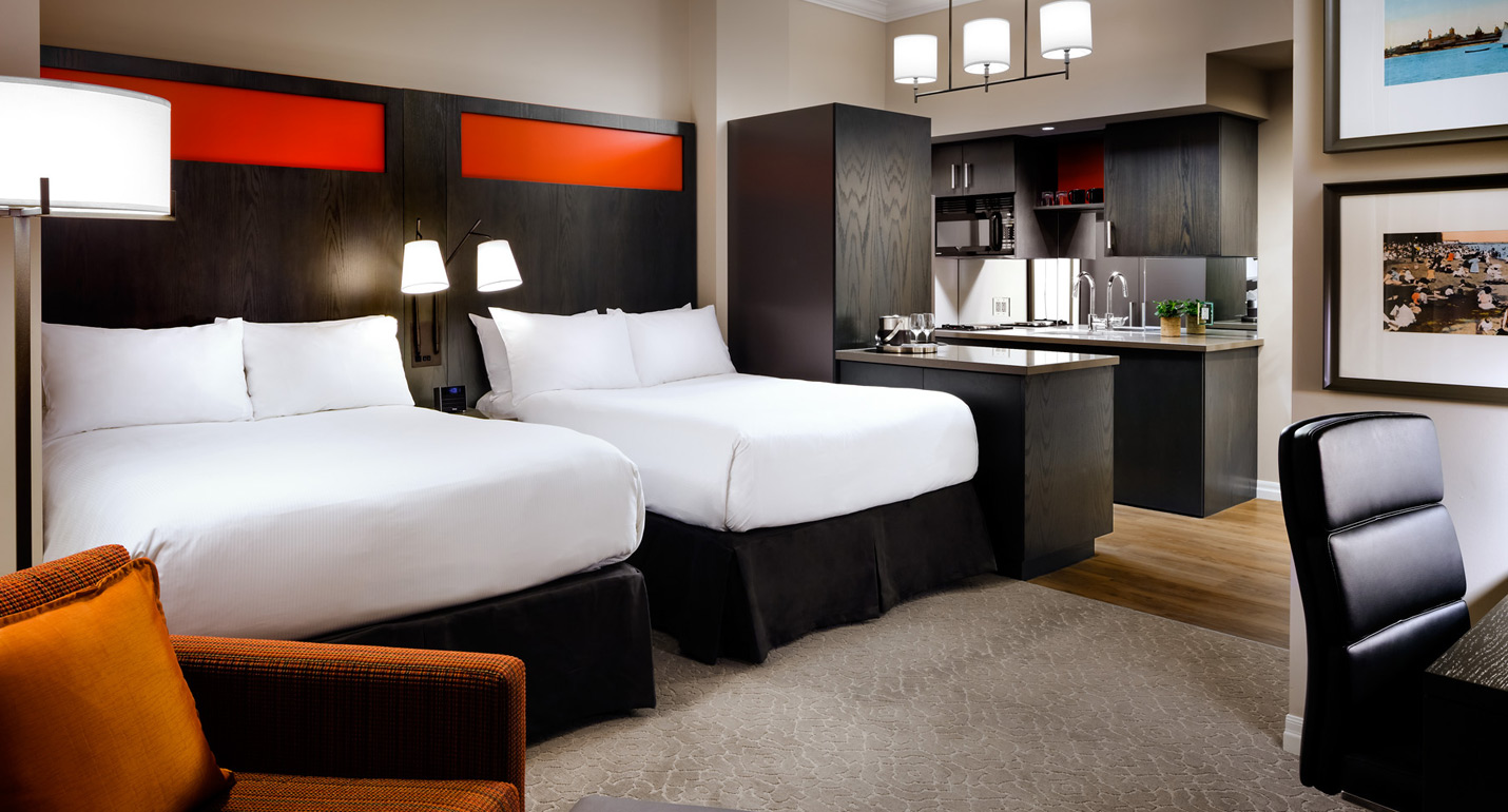 two beds in suite at Toronto hotel one king west