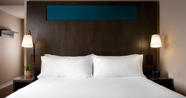 double bed at OKW hotels in Toronto