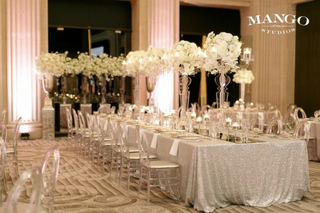 Set tables at One King West event venue.