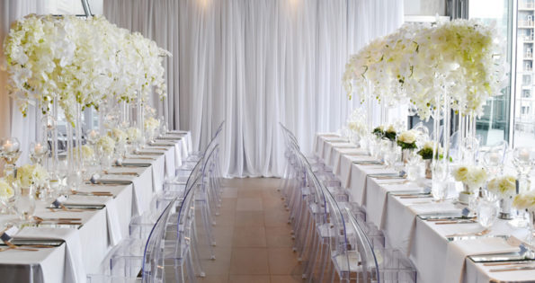 Tables at a unique wedding venue Toronto has downtown.
